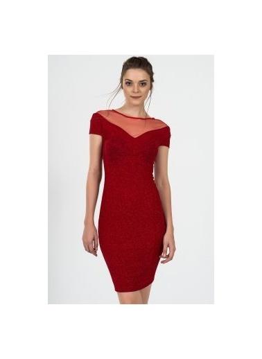 İroni Kısa Abiye Elbise Kırmızı